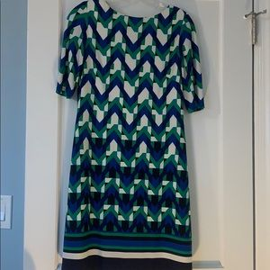 Blue and green patterned party dress